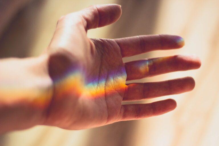 hand, rainbow, light